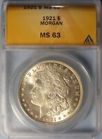 1921 MORGAN DOLLAR  CHOICE UNCIRCULATED ANACS MINT STATE 63