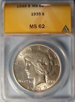 1935 PEACE DOLLAR  CHOICE UNCIRCULATED ANACS MINT STATE 62
