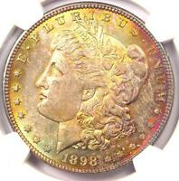 1898 TONED MORGAN SILVER DOLLAR $1 - CERTIFIED NGC MINT STATE 63 - RAINBOW TONING