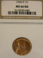 1936-D LINCOLN CENT NGC MINT STATE 66RD RICH RED WITH  LUSTER 99J