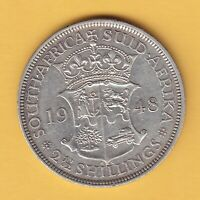 SOUTH AFRICA   2 1/2 SHILLINGS  1948  KM 39.1  VF  RARE DATE