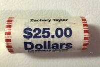 ZACHARY TAYLOR GOLDEN PRESIDENTIAL DOLLAR, ROLL OF 25 COINS, MINT UNCIRCULATED