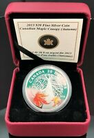 2013 $20 FINE SILVER COIN  CANADIAN MAPLE CANOPY  AUTUMN   WITH COA