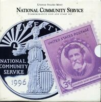 1996 S U.S. NATIONAL COMMUNITY SERVICE COMMEM. SILVER DOLLAR