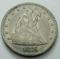 1875 SEATED LIBERTY 20 CENT COIN
