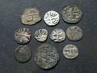 MEDIEVAL COIN LOT 10 TOTAL CRUSADER CROSS SILVER ANCIENT ANT