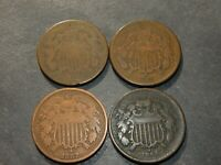 US TWO CENT COIN LOT 4 TOTAL 2 CENTS CIVIL WAR 1864 65 67 18
