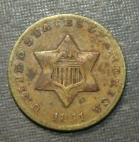 US THREE CENT SILVER COIN 1851 ANTIQUE LOT 3 CT. UNION STAR