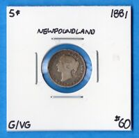 CANADA NEWFOUNDLAND 1881 5 CENTS FIVE CENT SMALL SILVER COIN   G/VG