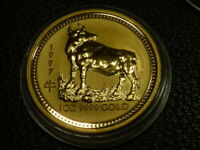 1997 1OZ .9999 GOLD YEAR OF THE OX BULL LUNAR COIN  SERIES I