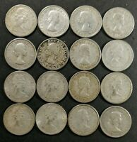 VG TO MS LOT OF 16 1960'S CANADIAN 80  SILVER 10 CENT DIMES