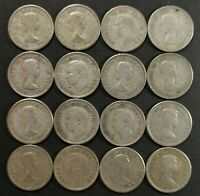 VG TO EF LOT OF 16 1950'S CANADIAN 80  SILVER 10 CENT DIMES