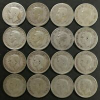 VG TO EF LOT OF 16 1930'S & 1940'S CANADIAN 80  SILVER 10 CE