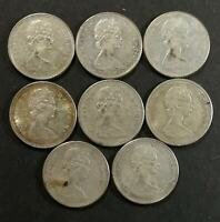 AU TO MS LOT OF 8 1967 CANADIAN SILVER 10 CENT DIMES COINS F