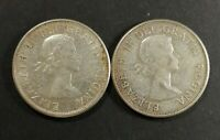 LOT OF 2 AU TO MS 1959 CANADIAN SILVER HALF DOLLAR 50 CENT C