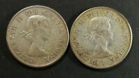 LOT OF 2 AU TO MS 1960 CANADIAN SILVER HALF DOLLAR 50 CENT C