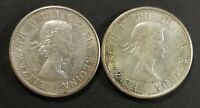LOT OF 2 AU TO MS 1963 CANADIAN SILVER HALF DOLLAR 50 CENT C