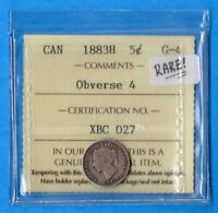 CANADA 1883 H OBV 4 5 CENTS FIVE CENT SMALL SILVER COIN   IC