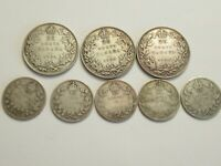 MIXED LOT OF 8 CANADA SILVER COINS 1934 35 36 25C    1913 17