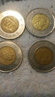 FOUR 1996 $2 CANADIAN PLANCHET CANADA 2 DOLLARS COIN ELIZABE