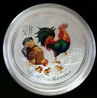 2017 $2 AUSTRALIA LUNAR YEAR OF THE ROOSTER COLORIZED 2 OZ S