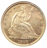 1840-O SEATED LIBERTY HALF DOLLAR 50C - CERTIFIED ANACS EXTRA FINE 40 DETAIL -  COIN