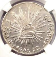 1865-CA JC MEXICO 8 REALES COIN 8R - NGC UNCIRCULATED DETAIL MS UNC