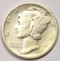 1921-D MERCURY DIME 10C - STRONG DETAILS -  KEY DATE COIN