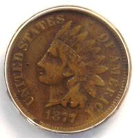 1877 INDIAN CENT 1C COIN - ANACS F15 DETAILS -  KEY DATE - CERTIFIED PENNY