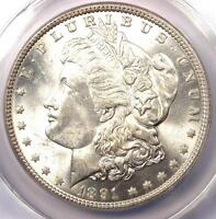1891 MORGAN SILVER DOLLAR $1 - CERTIFIED ANACS MINT STATE 63 -  LUSTER - R DATE