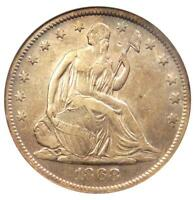 1868-S SEATED LIBERTY HALF DOLLAR 50C - CERTIFIED ANACS EXTRA FINE 40 DETAIL -  COIN