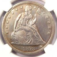 1873 SEATED LIBERTY SILVER DOLLAR $1 - NGC AU DETAILS -  CERTIFIED COIN