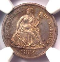 1884 PROOF SEATED LIBERTY DIME 10C COIN. CERTIFIED NGC PR66 PF66 - $1450 VALUE