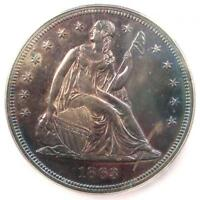 1863 SEATED LIBERTY SILVER DOLLAR $1 - CERTIFIED ICG MINT STATE 62 PL - $6,250 VALUE