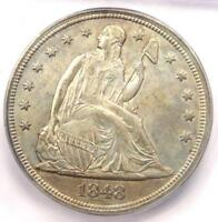 1848 SEATED LIBERTY SILVER DOLLAR $1 - CERTIFIED ICG MINT STATE 60 UNC - $7,500 VALUE