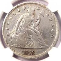 1872 SEATED LIBERTY SILVER DOLLAR $1 - NGC VF DETAILS -  CERTIFIED COIN