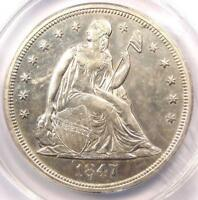 1847 SEATED LIBERTY SILVER DOLLAR $1 - ANACS AU55 DETAILS -  DATE COIN