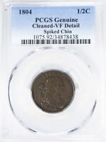 1804 DRAPED BUST COPPER HALF CENT PCGS GENUINE  FINE SPIKED CHIN