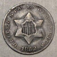 1852 THREE CENT SILVER,  FINE - DISCOUNTED    0518-15