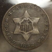1852 THREE CENT SILVER, TYPE ONE,  FINE,  TYPE COIN   1022-06