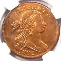 1802 DRAPED BUST LARGE CENT 1C - CERTIFIED NGC EXTRA FINE  DETAILS -  EF EARLY COIN