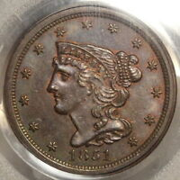 1851 BRAIDED HAIR HALF CENT, CHOICE UNCIRCULATED PCGS/CAC MINT STATE 63BN, SOME RED