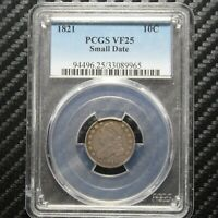 1821 CAPPED BUST DIME PCGS VF25 89965