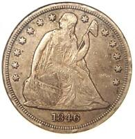 1846 SEATED LIBERTY SILVER DOLLAR $1 - EXTRA FINE  DETAILS -  EARLY TYPE COIN