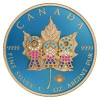 CANADA 2019 5$ MAPLE LEAF   FAMILY DAY 1 OZ BEJEWELED SILVER