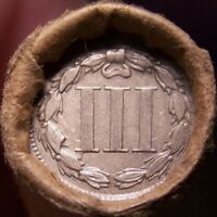 3 CENT NICKEL/1897 INDIAN HEAD CENT GREAT END COINS ANTIQUE ROLL SHOWN 7910