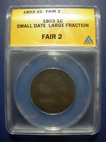 1803 DRAPED BUST LARGE CENT SMALL DATE LARGE FRACTION ANACS FAIR 2 FR2 FA2 1803