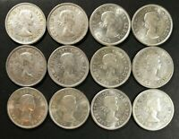 LOT OF 12 EF TO AU 1960'S CANADIAN 80  SILVER QUARTERS COINS