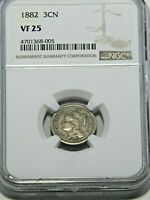 1882 THREE CENT NICKEL NGC VF25 BRIGHT WITH  ORIGINAL LUSTER 513S