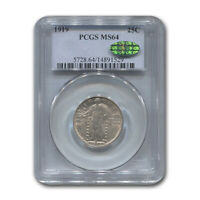 1919 STANDING LIBERTY QUARTER MINT STATE 64 PCGS CAC - SKU189649